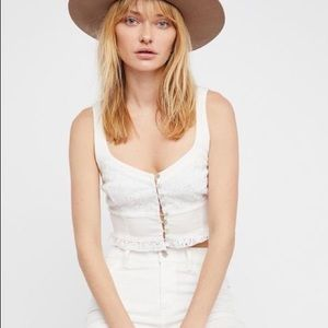 Free People Button Up Crop Top
